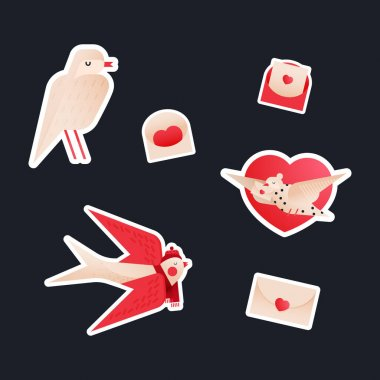 Valentine Sticker Pack. Modern Flat Vector Concept Illustrations. Bird Kinds, Envelop Variations Icon. Social Media Ads. icon