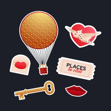 Valentine Sticker Pack. Modern Flat Vector Concept Illustrations. Old-Fashioned Aerostat Balloon, Envelop, Pigeon, Key, Ticket, Red Lips. Social Media Ads. icon