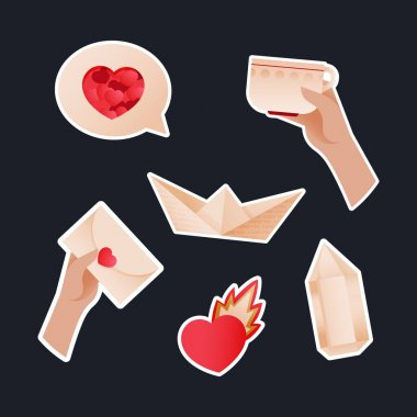 Valentine Sticker Pack. Modern Flat Vector Concept Illustrations. Chat Box with Heart, Hand Hold Cup, Hand Hold Envelop, Paper Ship with Texture, Heart with Flame, Stone Icon. Social Media Ads. icon