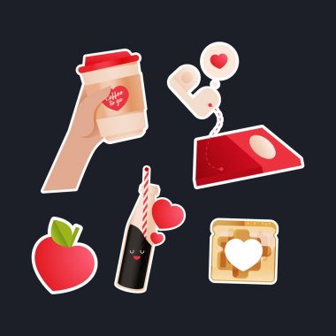 Valentine Sticker Pack. Modern Flat Vector Concept Illustrations. Hand Hold Cup To Go, Heart Shape Fruit, Red Phone, Drink in Bottle, Heart Shape Slice in the Middle of Toast Icon. Social Media Ads. icon