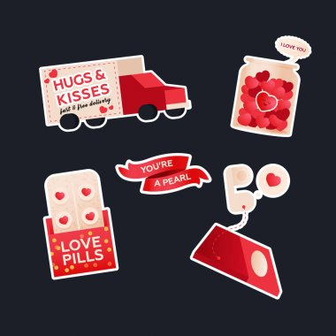 Valentine Sticker Pack. Modern Flat Vector Concept Illustrations. Delivery Transport, Jar with Hearts, Quote on Ribbon, Love Pills, Phone. Social Media Ads. icon