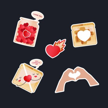 Valentine Sticker Pack. Modern Flat Vector Concept Illustrations. Jar with Hearts, Heart with Flame, Bread with Heart Shape in the Middle, Sandwich, Heart Shape Gesture. Social Media Ads. icon