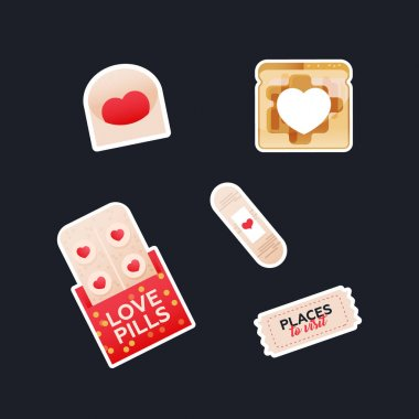 Valentine Sticker Pack. Modern Flat Vector Concept Illustrations. Envelop, Bread Toast with Heart Shape in the Middle, Patch, Love Pills, Ticket. Social Media Ads. icon