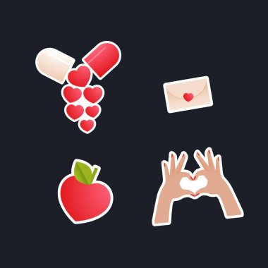Valentine Sticker Pack. Modern Flat Vector Concept Illustrations. Pill, Heart Shape Gesture, Envelop with Heart, Tag, Heart Shape Fruit. Social Media Ads. icon