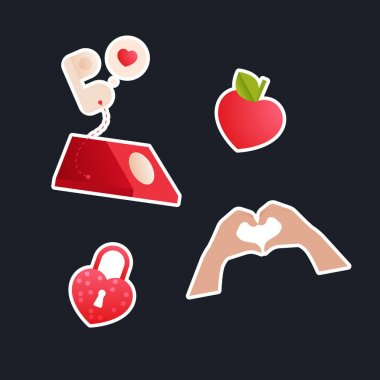 Valentine Sticker Pack. Modern Flat Vector Concept Illustrations. Red Telephone, Heart Shape Fruit, Heart Shape Gesture, Lock. Social Media Ads. icon