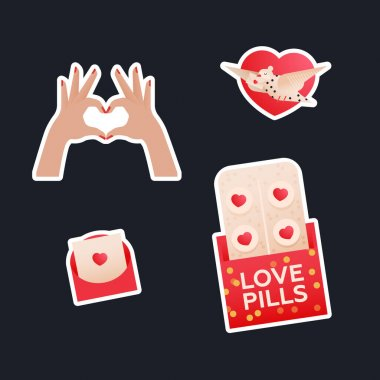Valentine Sticker Pack. Modern Flat Vector Concept Illustrations. Heart Shape Gesture, Envelop with Heart, Love Pills, Pigeon with Envelop on Heart Shape Background. Social Media Ads. icon