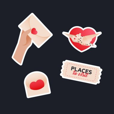 Valentine Sticker Pack. Modern Flat Vector Concept Illustrations. Hand Holding Envelop with Heart, Envelop with Heart, Tag, Pigeon on Heart Shape Background. Social Media Ads. icon