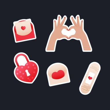 Valentine Sticker Pack. Modern Flat Vector Concept Illustrations. Envelop with Heart, Hand Shape Gesture, Hand Shape Lock, Patch Icon. Social Media Ads. icon