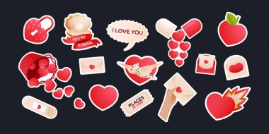 Big Valentine Sticker Pack. Modern Flat Vector Concept Illustrations. Social Media Ads. icon