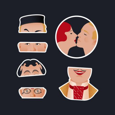 Vintage Retro Sticker Pack. Modern Flat Vector Concept Illustrations. Old-Fashioned Kissing Couple, Parts of Faces. Social Media Ads. icon