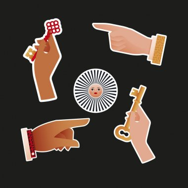 Vintage Retro Sticker Pack. Modern Flat Vector Concept Illustrations. Hand Hold Red Key, Pointing Finger, Eye, Sun with Face. Social Media Ads. icon