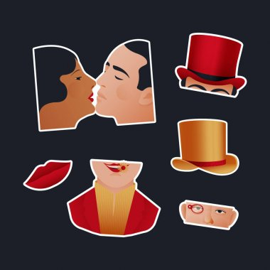 Vintage Retro Sticker Pack. Modern Flat Vector Concept Illustrations. Old-Fashioned Kissing Couple, Parts of Faces, Red Lips and Hat. Social Media Ads. icon