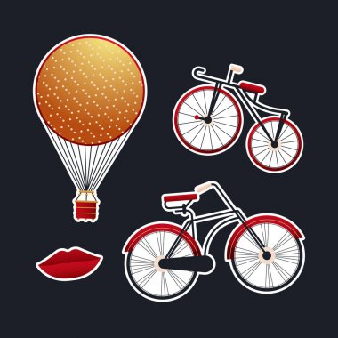 Vintage Retro Sticker Pack. Modern Flat Vector Concept Illustrations. Old-Fashioned Aerostat Balloon, Bicycle Kinds, Red Lips. Social Media Ads. icon