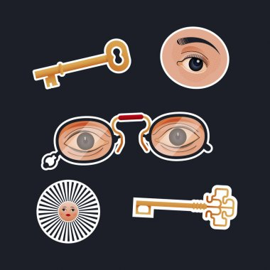 Vintage Retro Sticker Pack. Modern Flat Vector Concept Illustrations. Old-Fashioned Keys, Eye, Glasses with Eyes, Sun with Human Face. Social Media Ads. icon