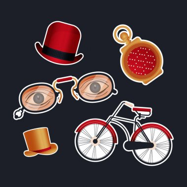Vintage Retro Sticker Pack. Modern Flat Vector Concept Illustrations. Old-Fashioned Hats, Clock, Glasses with Eyes, Bicycle. Social Media Ads. icon