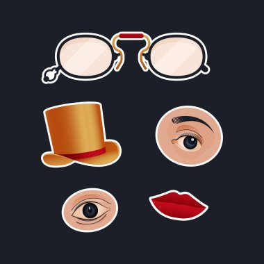 Vintage Retro Sticker Pack. Modern Flat Vector Concept Illustrations. Old-Fashioned Glasses, Eyes Kinds, Hat, Red Lips. Social Media Ads. icon