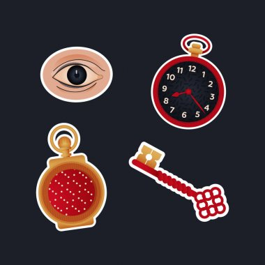 Vintage Retro Sticker Pack. Modern Flat Vector Concept Illustrations. Old-Fashioned Clocks, Key, Eye. Social Media Ads. icon