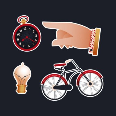 Vintage Retro Sticker Pack. Modern Flat Vector Concept Illustrations. Old-Fashioned Clock, Pointing Finger, Light Bulb, Bicycle. Social Media Ads. icon