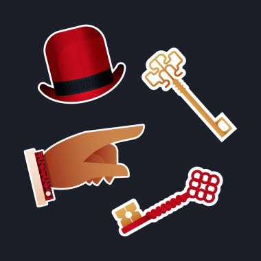 Vintage Retro Sticker Pack. Modern Flat Vector Concept Illustrations. Old-Fashioned Hat, Keys Kinds, Pointing Finger. Social Media Ads. icon