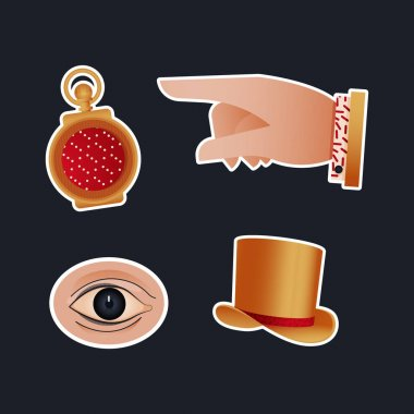 Vintage Retro Sticker Pack. Modern Flat Vector Concept Illustrations. Old-Fashioned Clock, Pointing Finger, Eye, Gold Hand. Social Media Ads. icon
