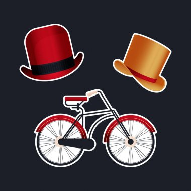 Vintage Retro Sticker Pack. Modern Flat Vector Concept Illustrations. Old-Fashioned Hat Variations, Bicycle. Social Media Ads. icon