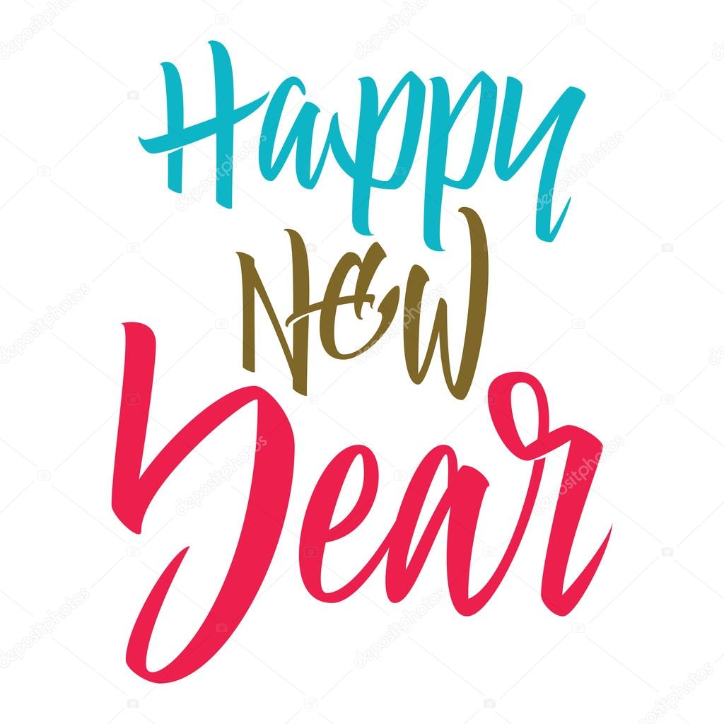 happy new year lettering stock vector