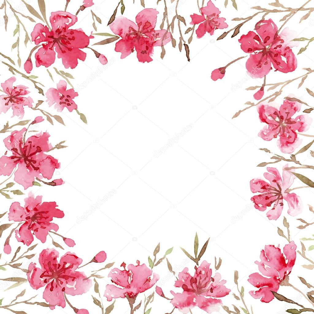 Watercolor spring flowers.