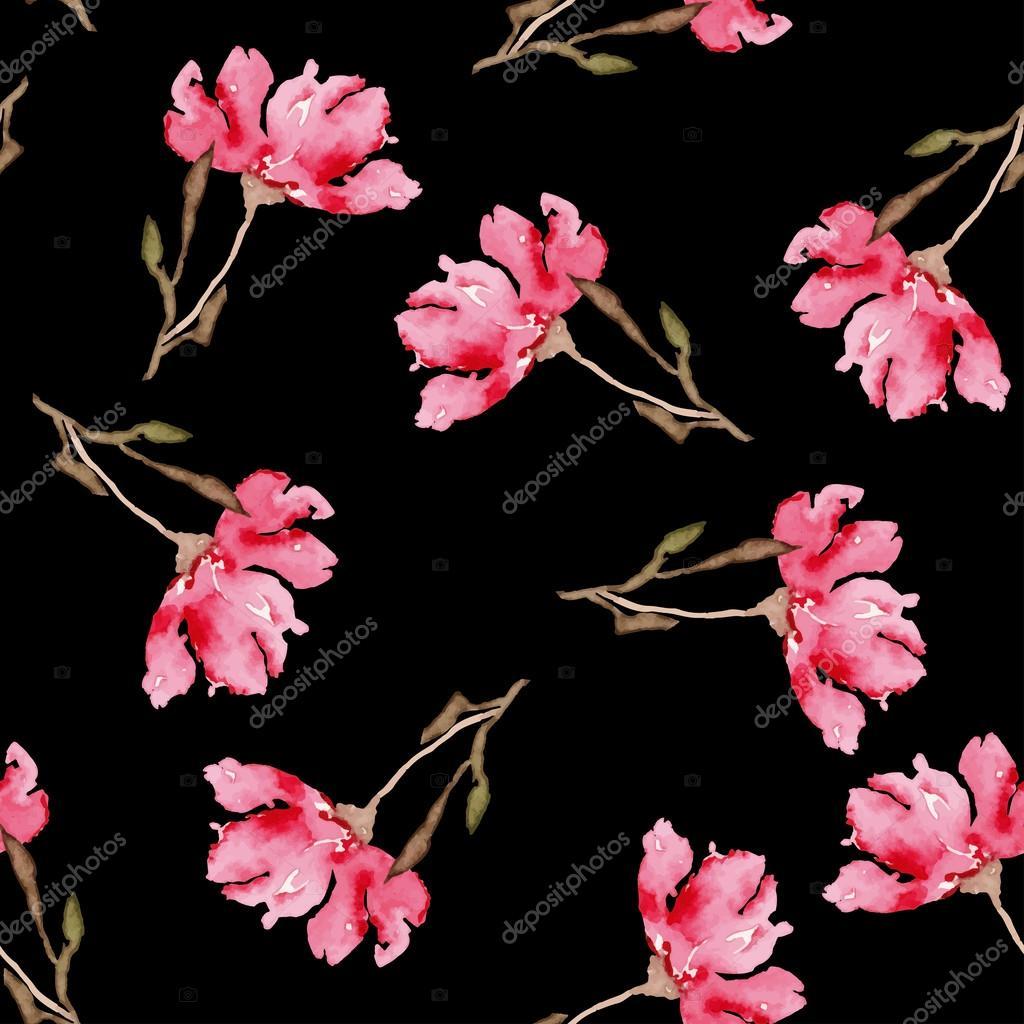 Watercolor seamless flowers pattern