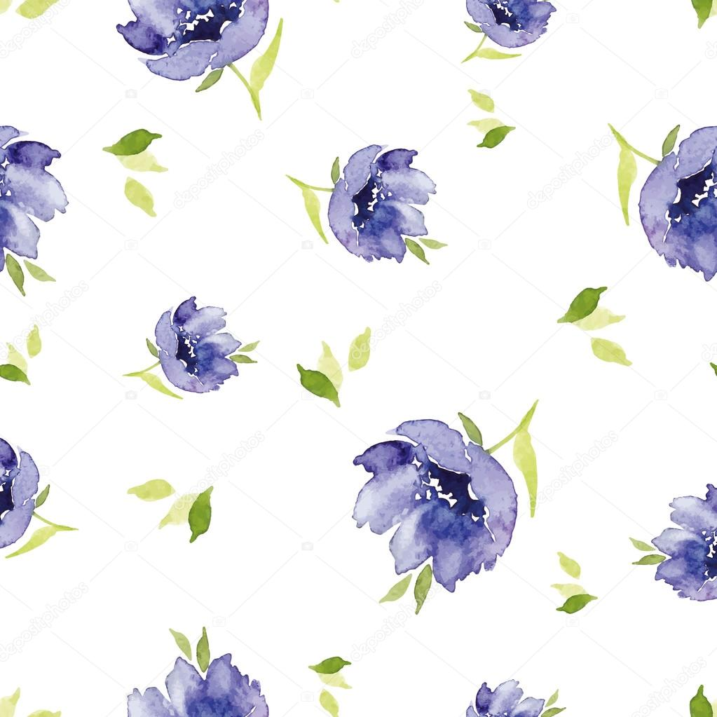 Blue watercolor flowers seamless pattern