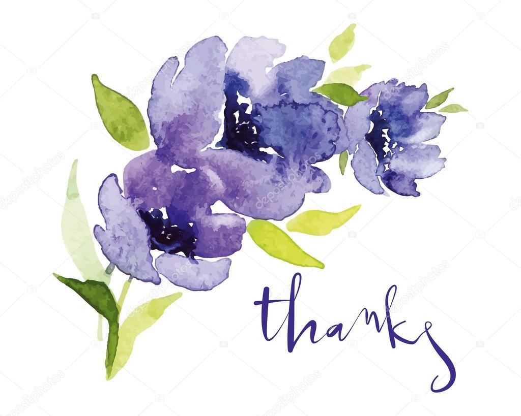 Postcard watercolor blue flowers.