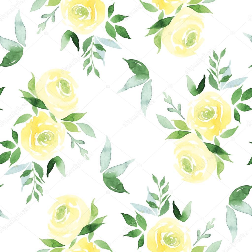Seamless pattern watercolor flowers