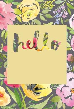 Watercolor greeting card flowers. Handmade. Congratulations. stock vector