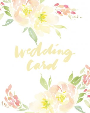 Decorative card. Flowers painted in watercolor. Hand lettering. clip art vector