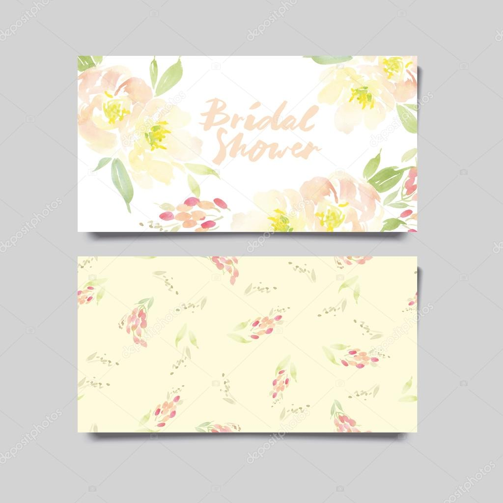 Vector invitation card with watercolor flowers. Bridal shower