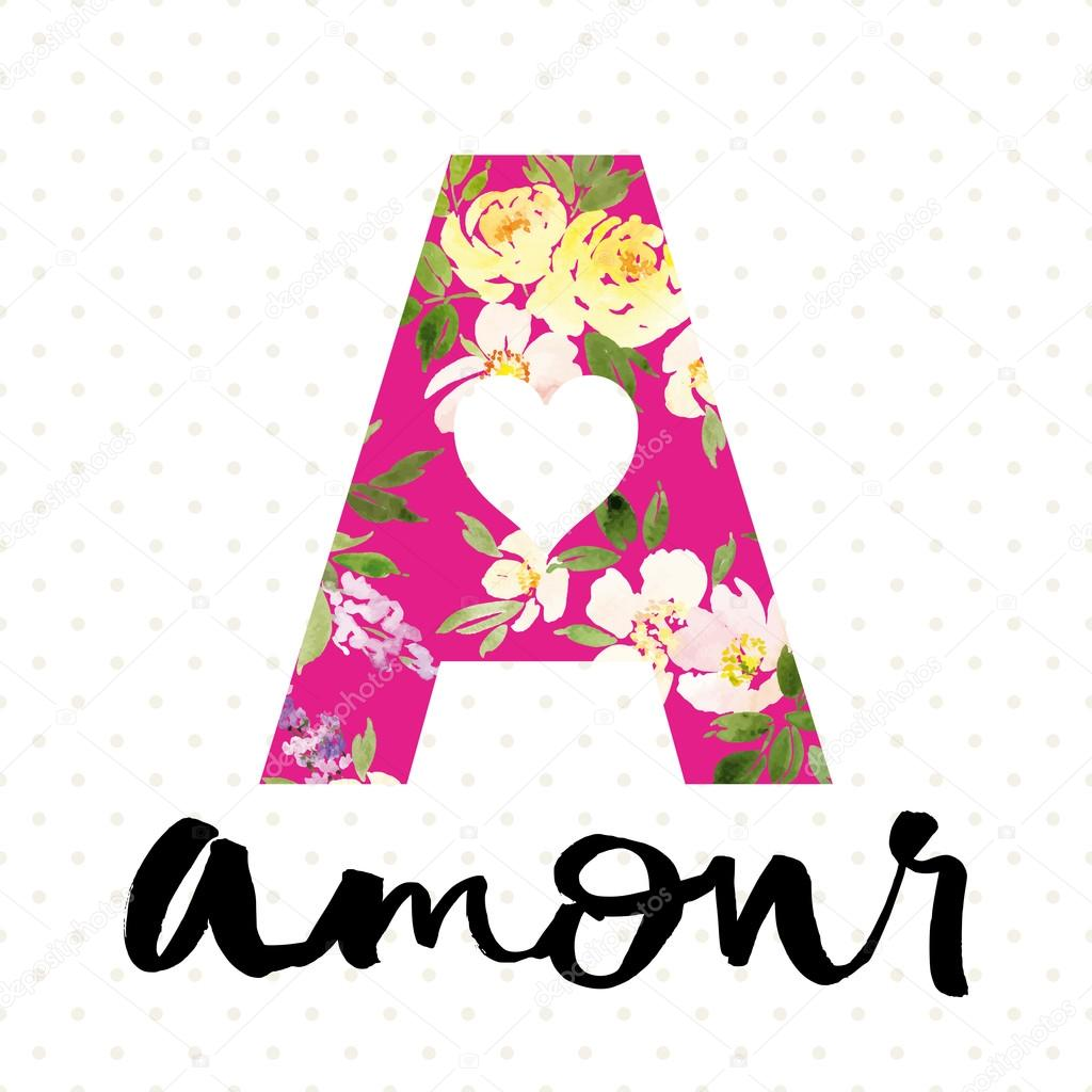 Style College. Flower pattern. Amour. Watercolor.