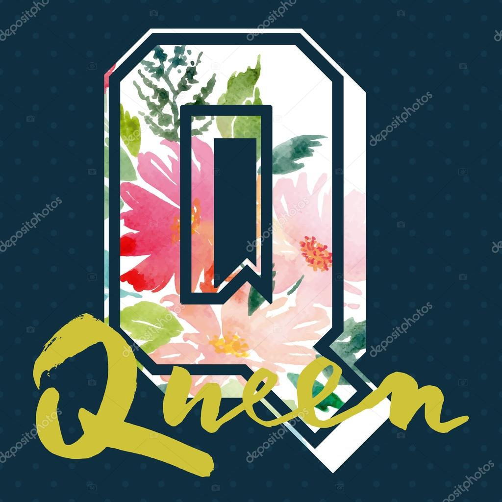 Queen to print T-shirts. Watercolor background. Hand lettering.
