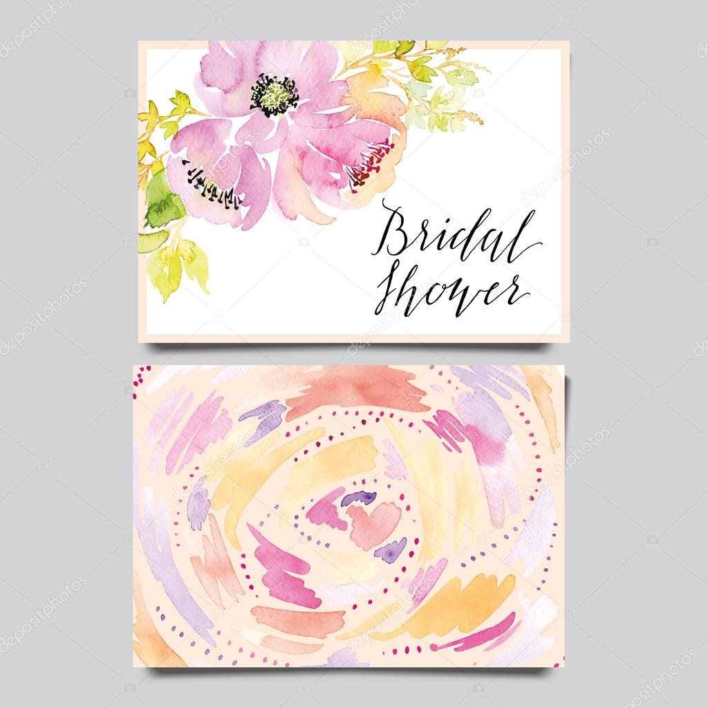Decorative card. Flowers painted in watercolor. Hand lettering. Seamless pattern.