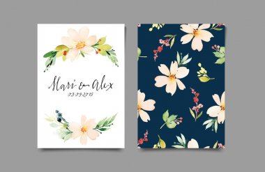 Decorative card. Flowers painted in watercolor. Hand lettering. Seamless pattern. clip art vector
