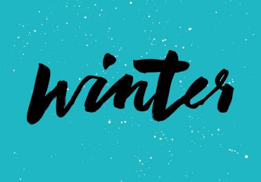 Winter calligraphy. Hand lettering. Brush black.