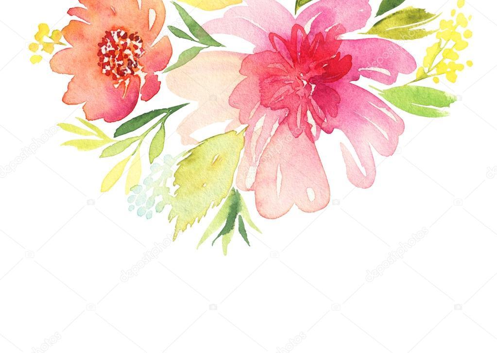 贺卡。水彩花背景 — 图库照片©Karma15381#84145950