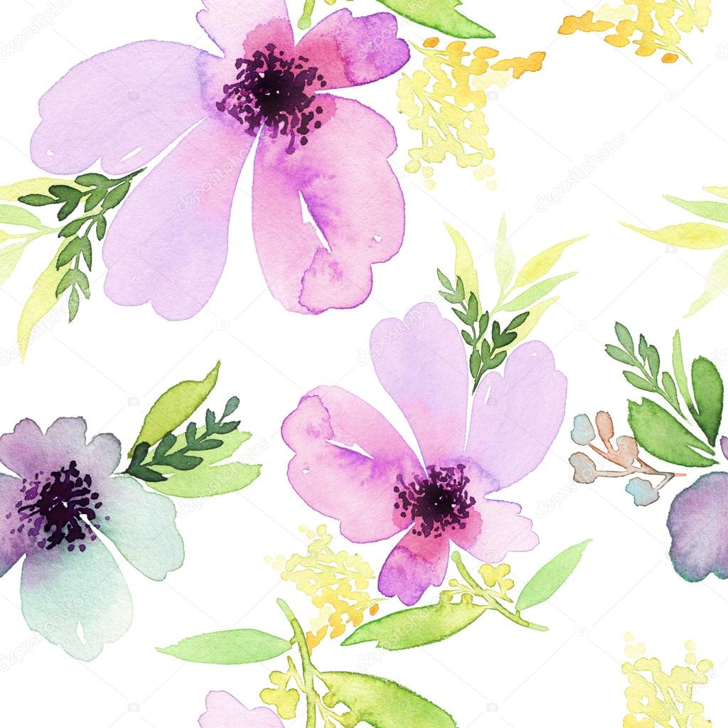 Seamless pattern with flowers watercolor. Gentle colors. Female