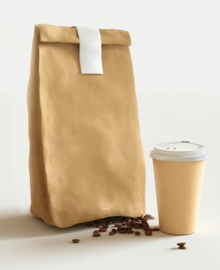 Paper bag and cup of coffee