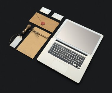 Set of Branding elements With Laptop