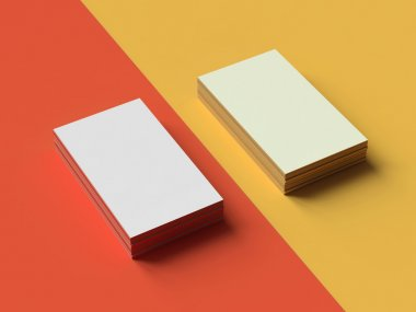 Business cards on two color background