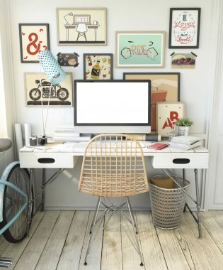 Hipster Workplace with computer