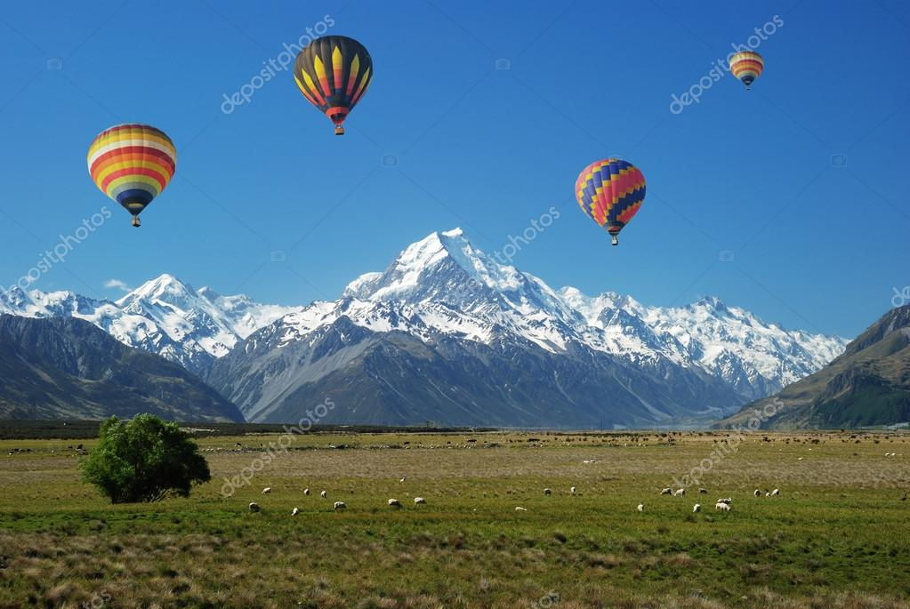 Balloons floating over Mt. Cook