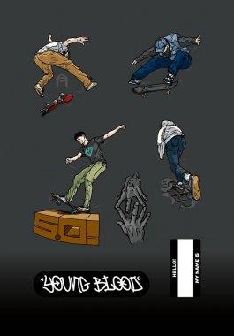 Kaykay sticker 'ları, genç patenciler