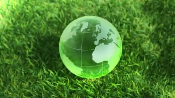 Ökológiai környezet fogalma, üveg globe a zöld fűben