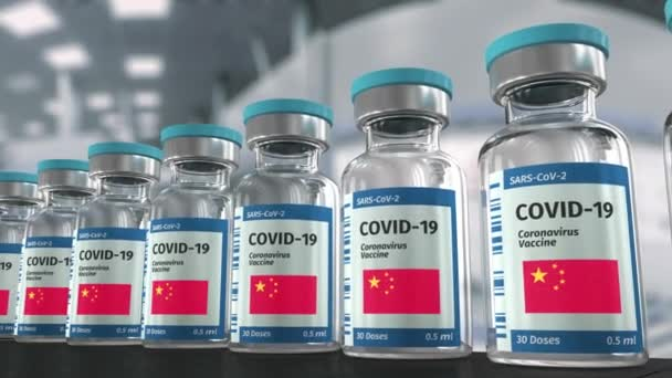COVID-19 Coronavirus vaccine from China production line looped video.