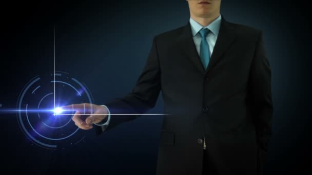 Businessman interactivity Touch screen. Touchscreen Technology motion graphics. Big color graph.